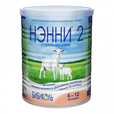Нэнни 2 с пребиотиками - мол. смесь на основе козьего молока, 6-12 мес., 400