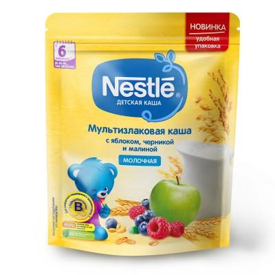 (Упак 9шт х 220гр) Каша молочная Nestle мультизлаковая с яблоком, черникой и малиной