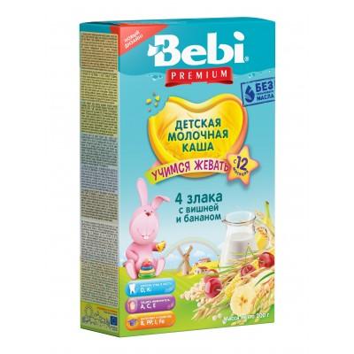 Каша Bebi Premium молочная 4 злака с вишней и бананом с 12 мес, 200 гр