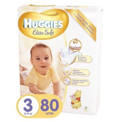 Подгузники Huggies  Elite Soft размер 3 (5-9 кг), 80шт/упак
