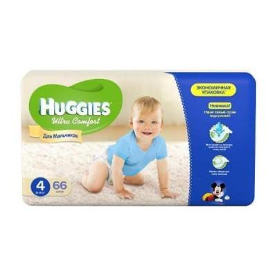 Подгузники Huggies размер 4 (8-14кг), 66шт/упак, для мальчиков