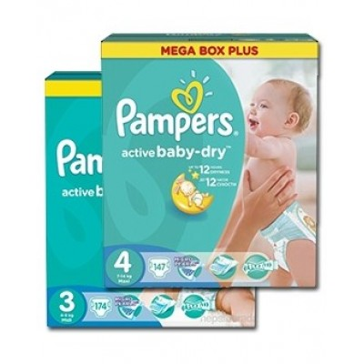 Набор Подгузники Pampers Active Baby-Dry размер 3 и 4