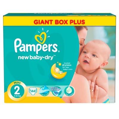 Подгузники Pampers New Baby-Dry 2 (3-6кг) 144шт