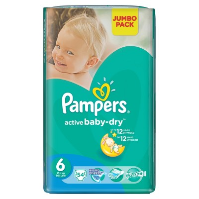 Подгузники Pampers Active Baby-Dry 6 (16+кг) 54шт