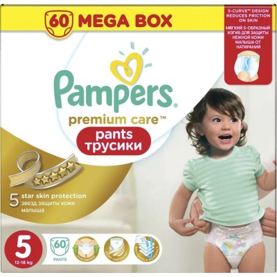 Трусики Pampers Pants Premium Care Junior 5 (12-18 кг) 60 шт