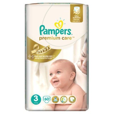 Подгузники Pampers Premium Care 3 (5-9 кг) 60 шт