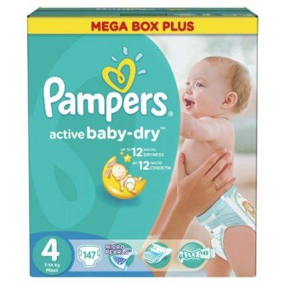 Подгузники Pampers Active Baby-Dry 4 (8-14кг) 147шт