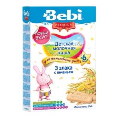 Каша Bebi Premium 3 злака с печеньем, с 6 мес., 200гр.