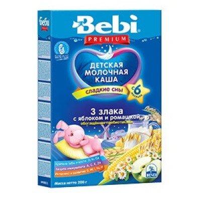 Ночная каша Bebi Premium 3 злака с яблоком и ромашкой, обогащенная пребиотиками, с 6 мес., 200гр.