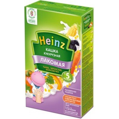 Лакомая кашка Хайнц Кукурузная тыква, чернослив, морковочка, с 5 мес., 200 г картон