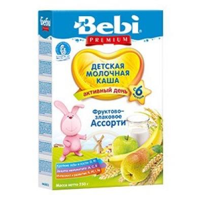 Каша Bebi Premium фруктово-злаковое ассорти молочная, с 6мес., 200гр.