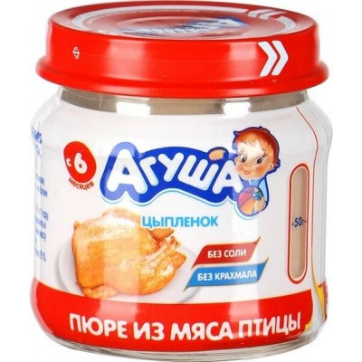 Пюре мясное Агуша Цыпленок 6,0% 80г Банка стекло (8)