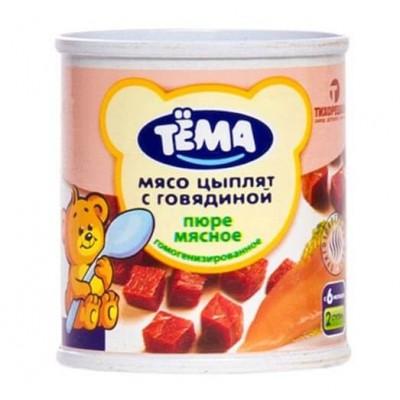 ТЁМА пюре Мясо цыплят с говядиной, с 6 мес., 100г Ж/Б