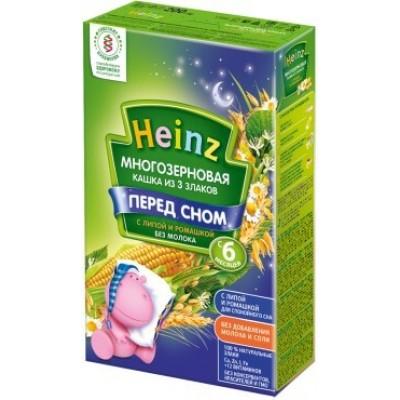 Кашка Хайнц Перед сном, Многозерновая кашка из 3 злаков с липой и ромашкой, с 6 мес., 200г картон