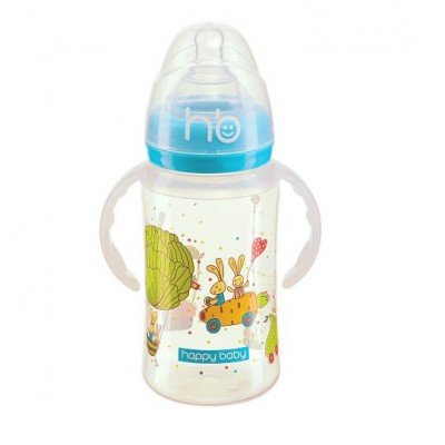 Бутылочка Happy Baby для кормления с ручками Milky Stories, голубой цвет, С 0 мес., 240мл