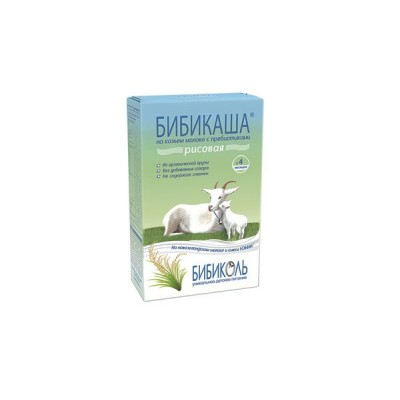 Каша рисовая на козьем молоке «Бибикаша» с пребиотиками, с 4 мес., 250г.