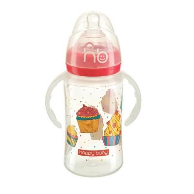Бутылочка Happy Baby для кормления с ручками Milky Stories, розовый цвет, С 0 мес., 240мл