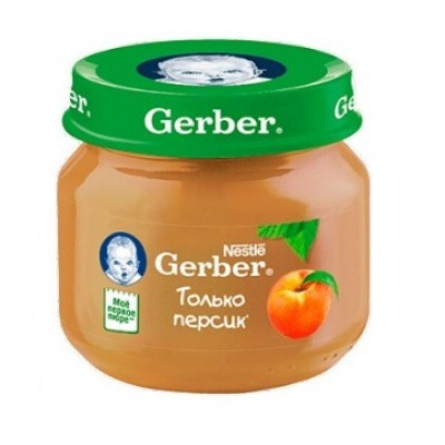 Пюре Gerber Только персик, с 4 мес., 80г Банка стекло