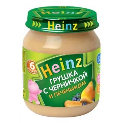Пюре Хайнц Грушка и черничка с печеньицем, с 6 мес., 120г Банка стекло