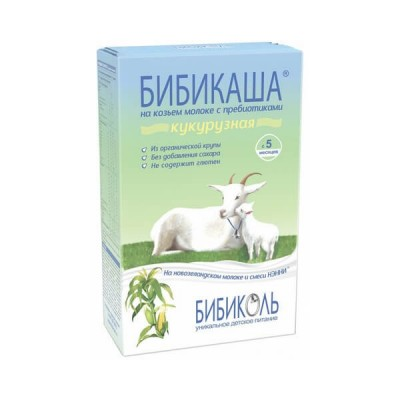 Каша кукурузная на козьем молоке «Бибикаша» с пребиотиками, с 5 мес., 250г.