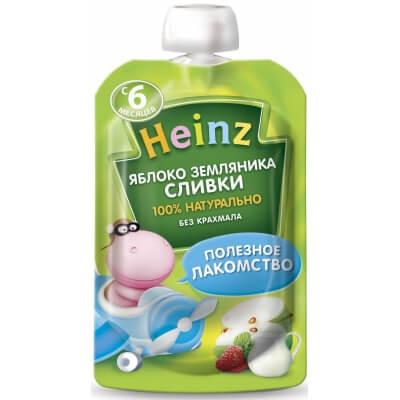 Пюре Heinz Яблоко и земляника со сливками 6 мес. 90 г