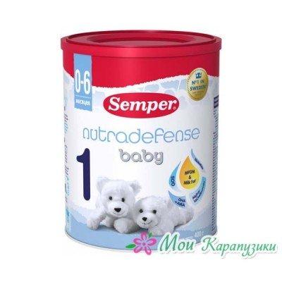 Сэмпер Беби Нутрадефенс 1 - мол. смесь, 0-6 мес., 400/12