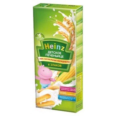 Детское печеньице Хайнц 6 злаков, с 6 мес., 180г картон