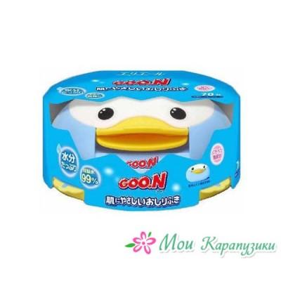 GOON Влажные салфетки д/малышей, пластиковый контейнер, 70 шт