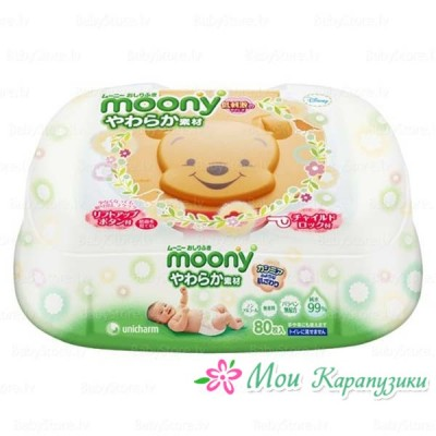 MOONY Влажные гигиенические салфетки для детей, пластиковый контейнер, 80 шт.
