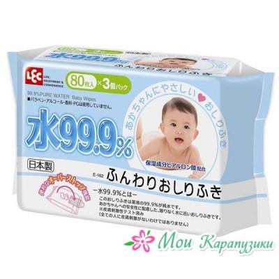 iPLUS Детские влажные салфетки 99,9% воды д/рук и лица 80 шт, мягкая упаковка