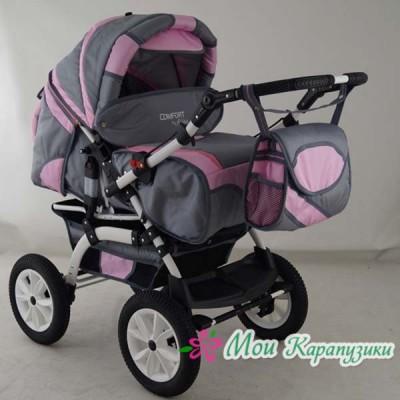 Детская коляска-трансформер Aliko Comfort серо-розовый