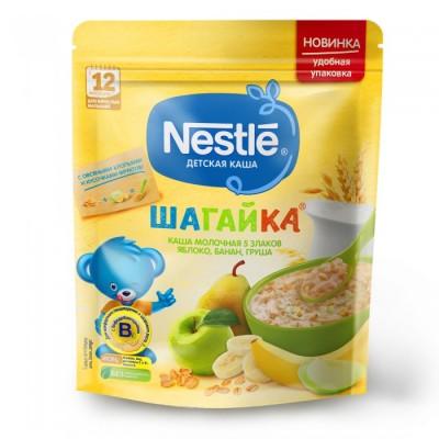 (Упак 9штх200гр) Каша Nestle «Шагайка» молочная 5 злаков, яблоко, банан, груша