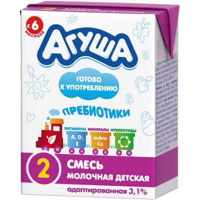 (Упак 18х0,2л) Молочная готовая смесь Агуша-2 с 6 мес, 3,1%