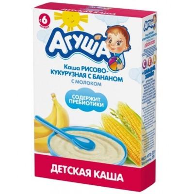 "Каша сухая молочная ""Агуша"" Рисово-кукурузная с бананом с 6 мес, 200 гр"