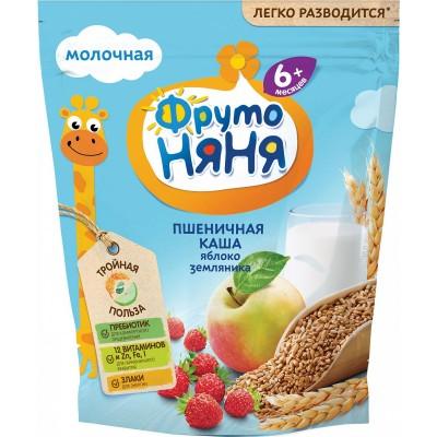 Каша молочная ФрутоНяня пшеничная с яблоками и земляникой с 6 мес. 200 гр