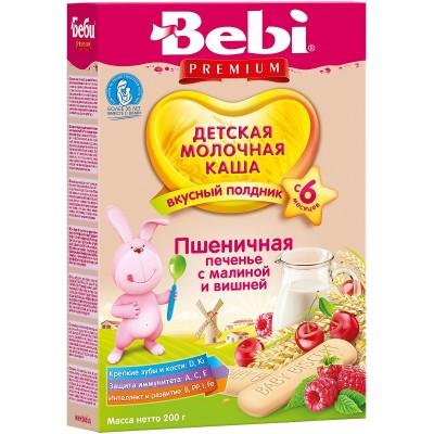Каша молочная Bebi Premium пшеничная с печеньем, малиной и вишней с 6 мес. 200 гр