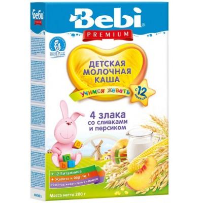 Каша Bebi Premium молочная 4 злака со сливками и персиком с 12 мес, 200 гр