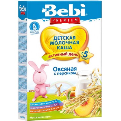 Каша Bebi Premium молочная овсяная с персиком с 5 мес, 200 гр