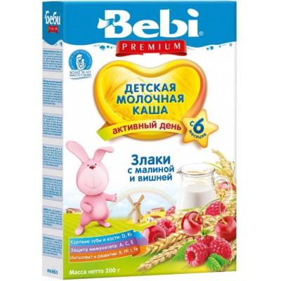 Каша Bebi Premium молочная злаки-малина-вишня с 6 мес, 200 гр