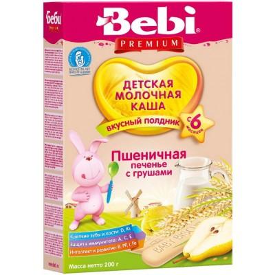 Каша Bebi Premium молочная пшеничная печенье с грушей с 6 мес, 200 гр