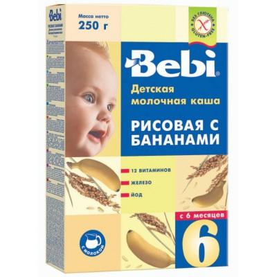 Каша Bebi молочная рисовая с бананом с 6 мес, 250 гр
