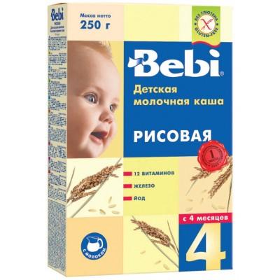 Каша Bebi молочная рисовая, с 4 месяцев,  250 гр