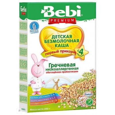 Каша Bebi Premium безмолочная, гречневая низкоаллергенная с пребиотиками, с 4 мес. 200гр.
