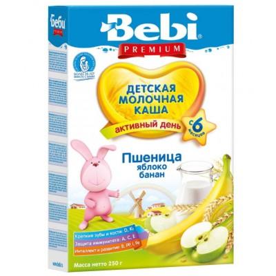 Каша Bebi Premium пшеница, яблоко, банан молочная, с 6 мес., 250гр.