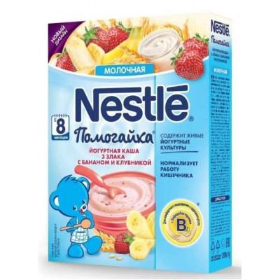 Каша Nestle Помогайка йогуртная молочная 3 злака с бананом и клубникой
