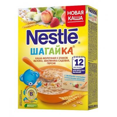 Каша Nestle «Шагайка» молочная 5 злаков, яблоко, земляника,персик 200 гр, с 12 мес