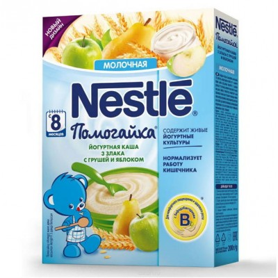 Каша Nestle Помогайка йогуртная молочная 3 злака, груша, яблоко