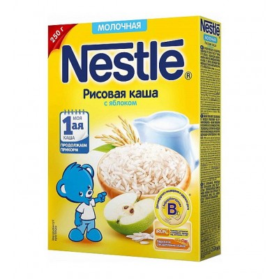 Каша молочная Nestle рисовая с яблоком с 4 мес. 250 гр
