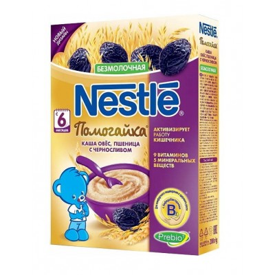 Каша Nestle Помогайка безмолочная овес, пшеница с черносливом 200 гр