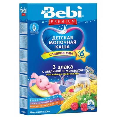 Ночная каша Bebi Premium 3 злака с малиной и мелиссой, обогащенная пребиотиками, с 6 мес., 200гр.
